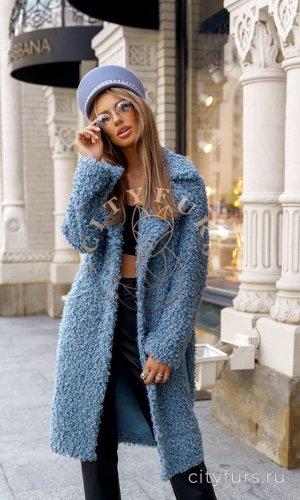 Пальто двухстороннее из экомеха цвет голубой