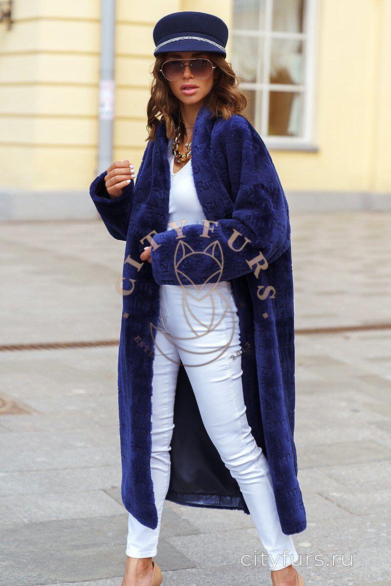 Пальто из натуральной овчины цвет синий