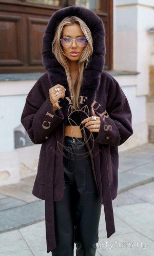 Пальто с мехом норки цвет коричневый