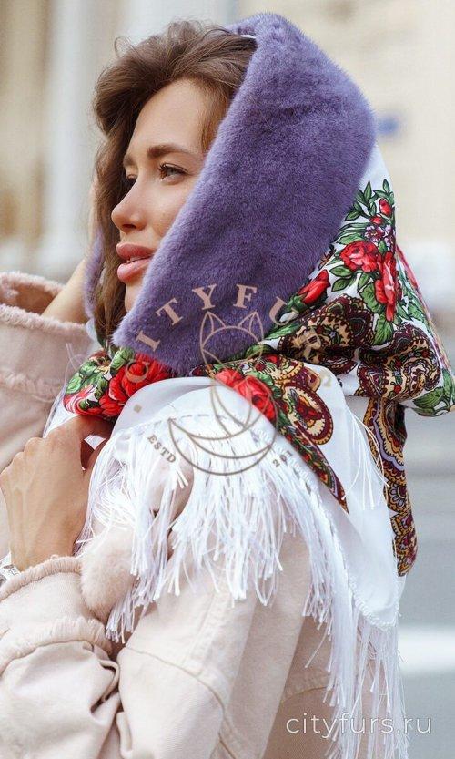 Платок с мехом норки - цвет белый