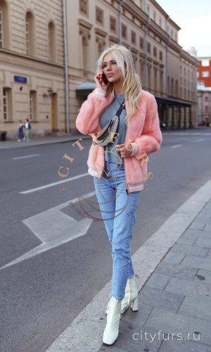 Бомбер из норки - цвет розовый