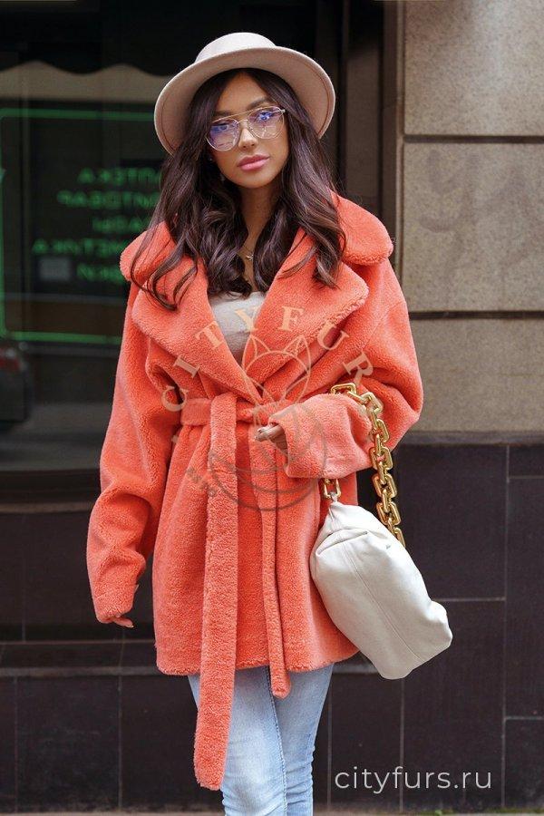 Пальто из овечьей шерсти - цвет оранжевый