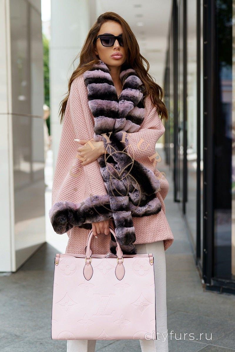 Пальто с мехом кролика цвет розовый