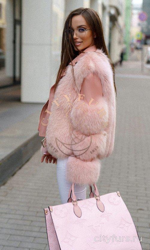 Шуба-косуха с мехом песца цвет розовый