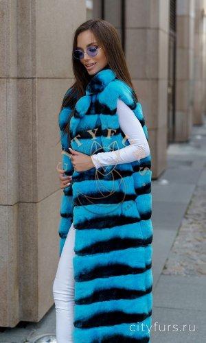 Жилет из меха орилаг цвет голубой