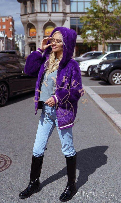 Бомбер из норки с капюшоном - цвет фиолетовый