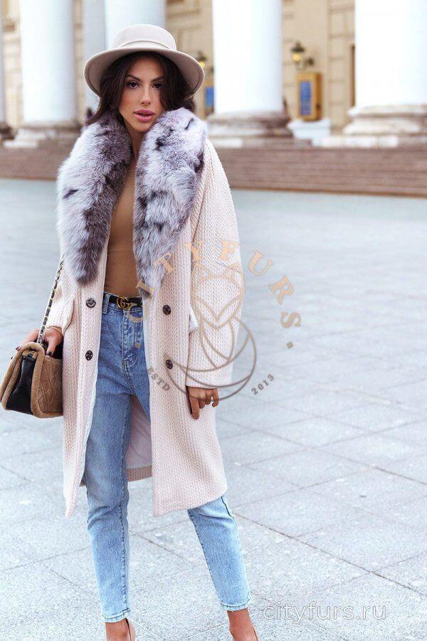 Пальто с мехом песца - цвет бежевый