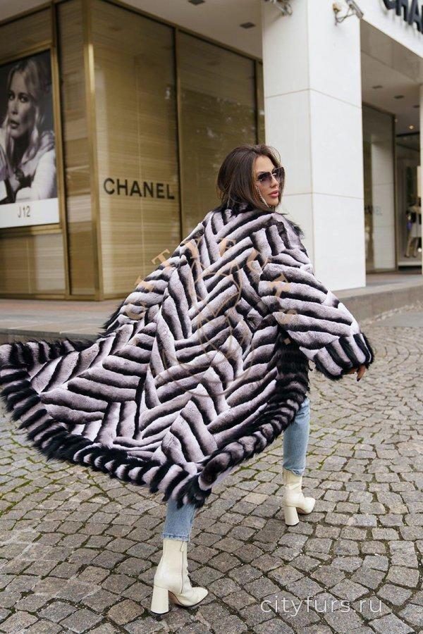 Шуба из меха орилаг с чернобуркой - паркетная раскладка