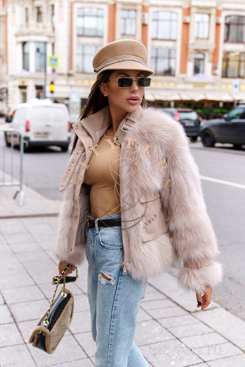Куртка с мехом песца - цвет пудра