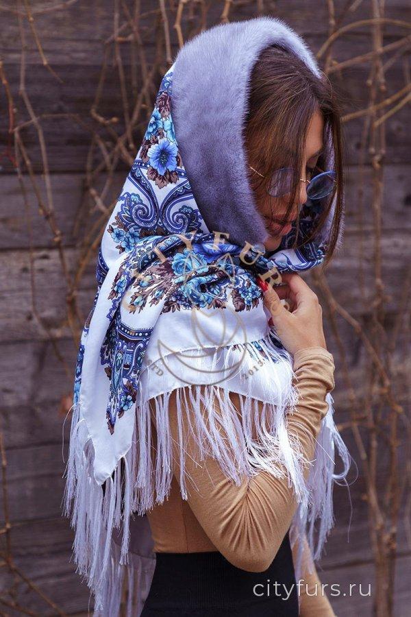 Платок с мехом норки - цвет серо-голубой
