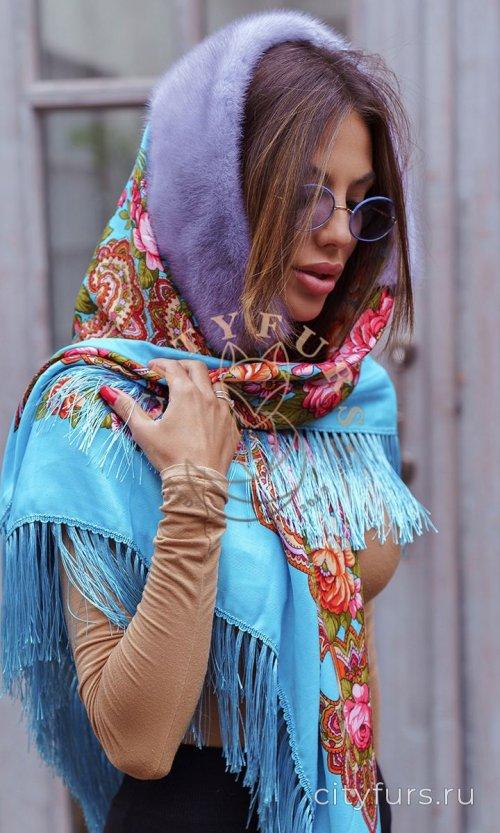 Платок с мехом норки - цвет голубой