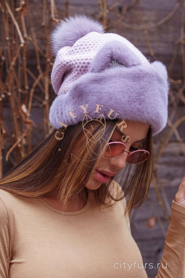 Шапка с ушками - цвет лаванда