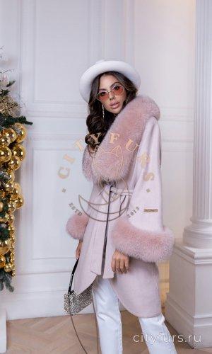 Пальто из шерсти альпака - цвет пудра