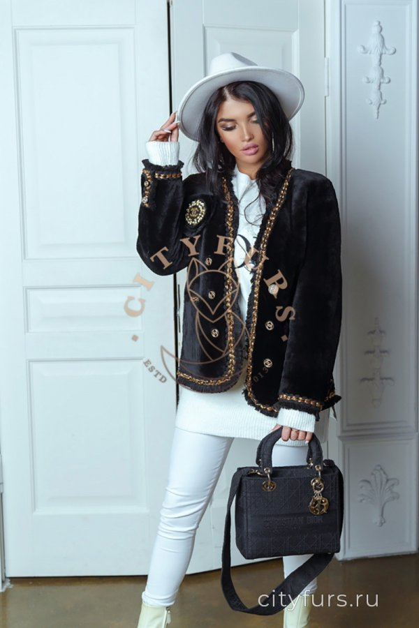 Пиджак из натуральной овчины - цвет черный