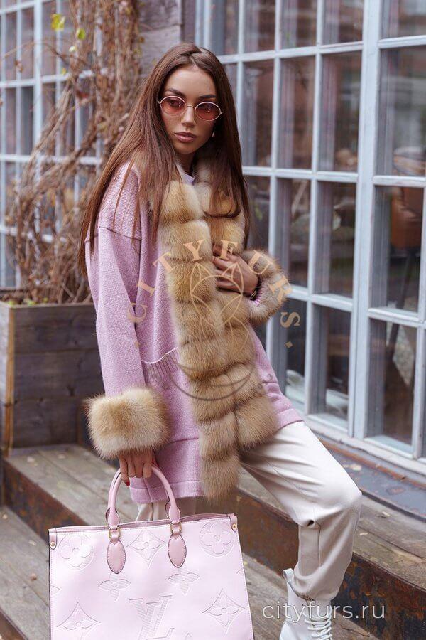 Кардиган с мехом куницы - цвет розовый