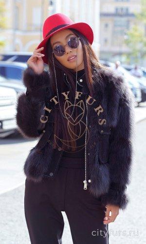 Куртка с мехом песца - цвет черный