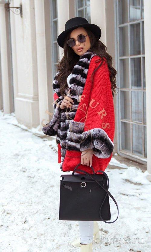 Пальто с мехом кролика - цвет красный