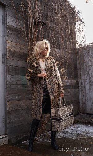 """Пальто """"Леопард"""" - цвет коричневый"""