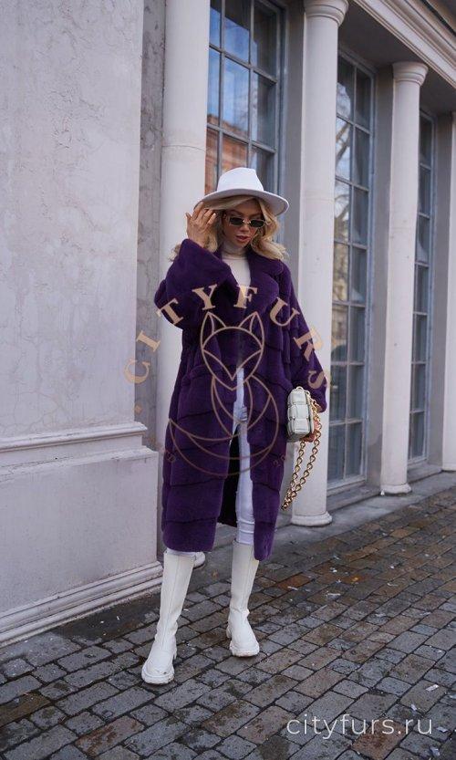 Шуба из импортного меха норки - цвет фиолетовый
