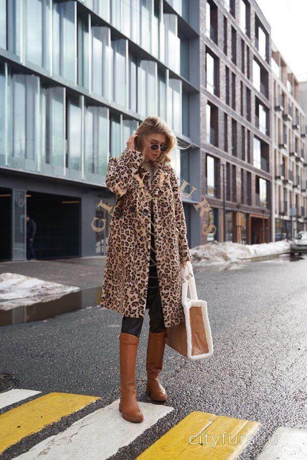 Шуба из овечьей шерсти «Леопард» - цвет коричневый