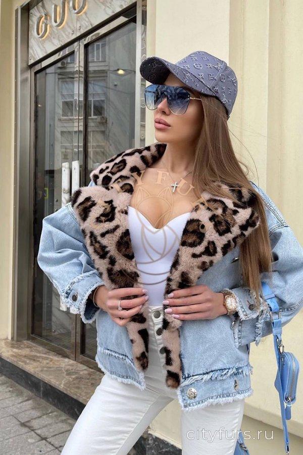 """Джинсовка с мехом норки """"Leopard"""" - цвет голубой"""