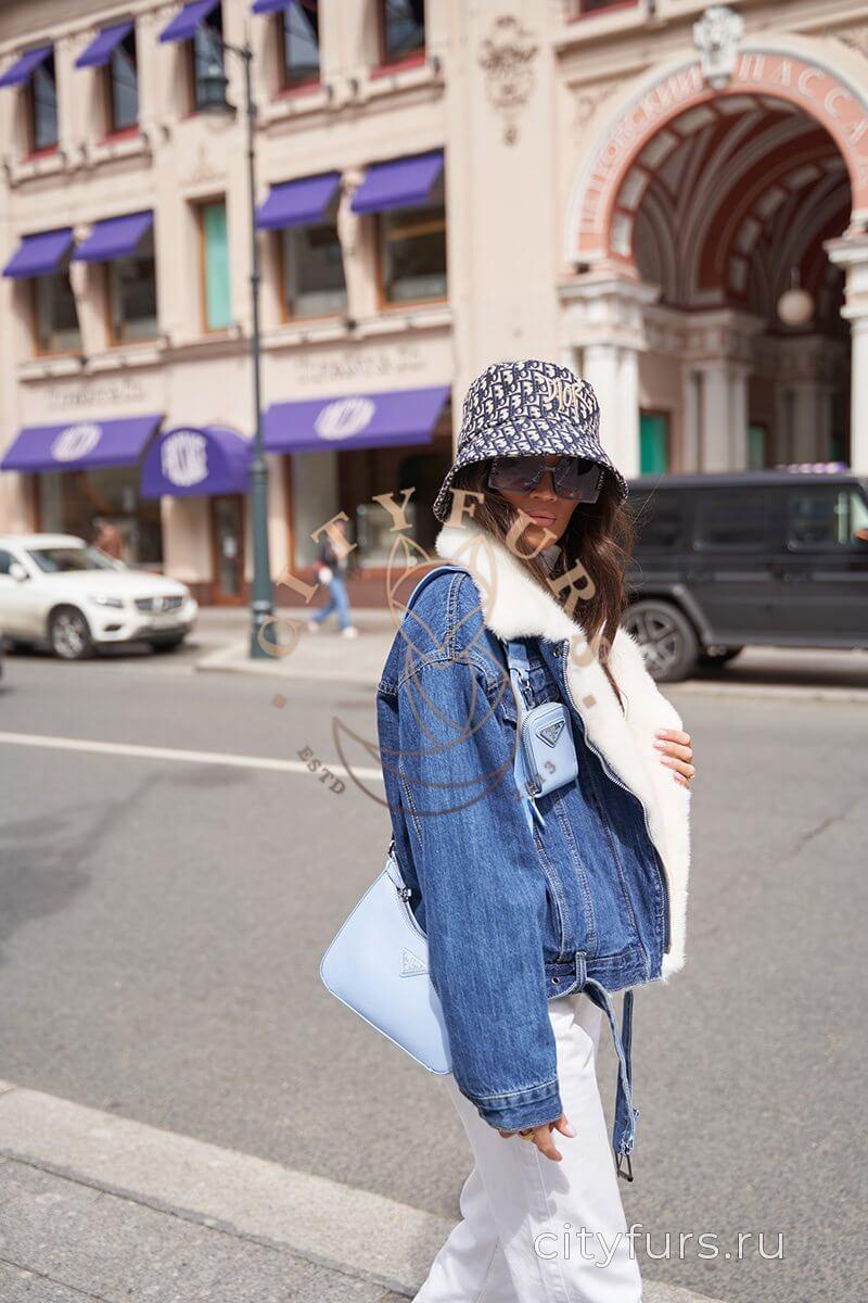 Джинсовка с мехом норки - цвет синий