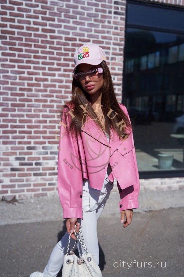 """Кожаная куртка """"Oversize"""" - цвет розовый"""