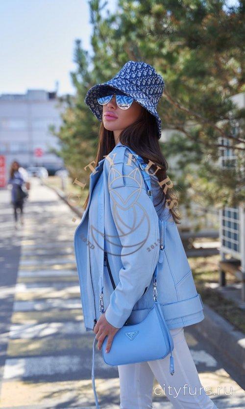 Кожаная куртка из премиум коллекции - цвет голубой