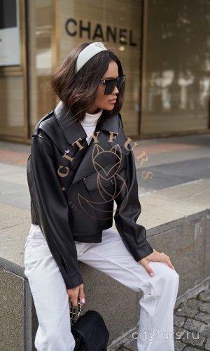 """Кожаная куртка """"Oversize"""" - цвет черный"""