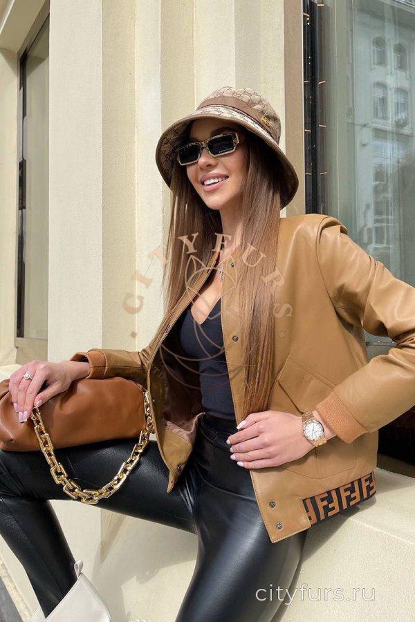"""Кожаный бомбер в стиле """"Fendi"""" - цвет коричневый"""