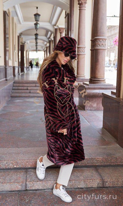 Комплект пальто и панама из экомеха «Зебра» с поясом