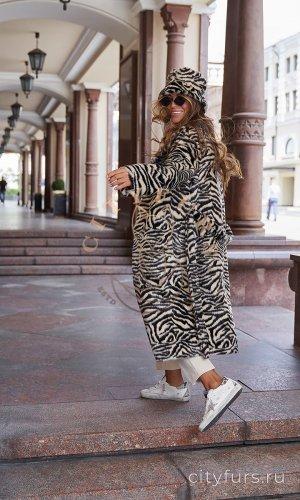Комплект пальто и панама из экомеха «Зебра» - цвет белый