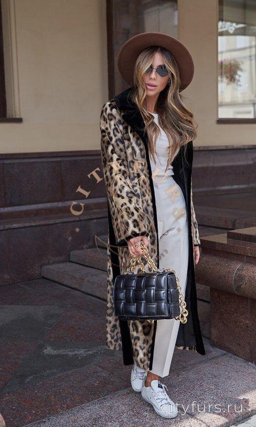Пальто из экомеха «Леопард» - цвет черный