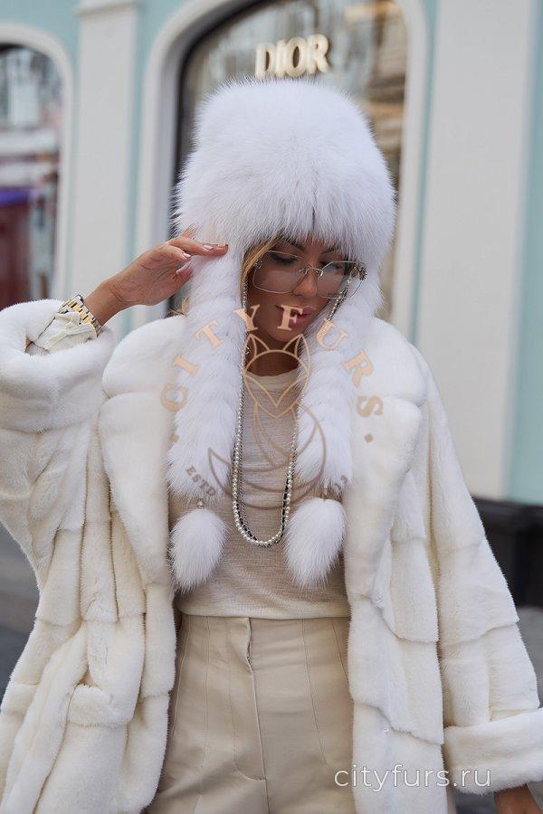 Шапка с косичками, финский песец - цвет белый