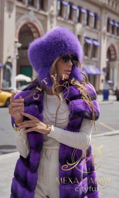 Шапка с мехом норки и финского песца - цвет фиолетовый