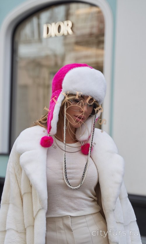 Шапка-ушанка норковая - цвет фуксия