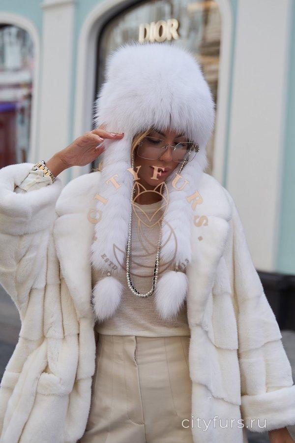 """Шуба из плюшевой норки """"Velvet"""" - цвет белый"""