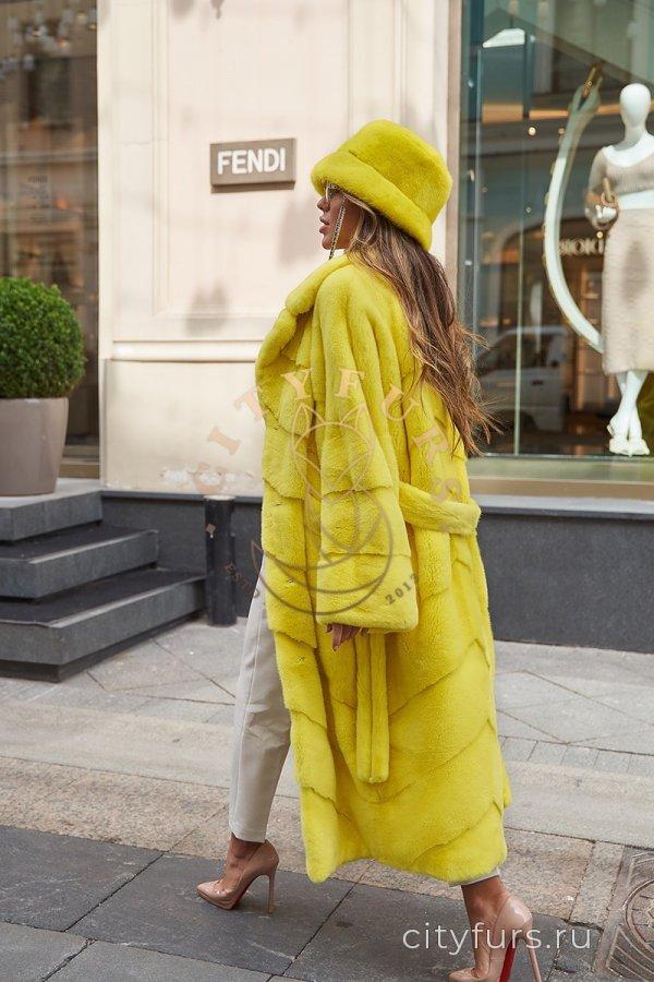 """Шуба из плюшевой норки """"Velvet"""" - цвет лимонный"""