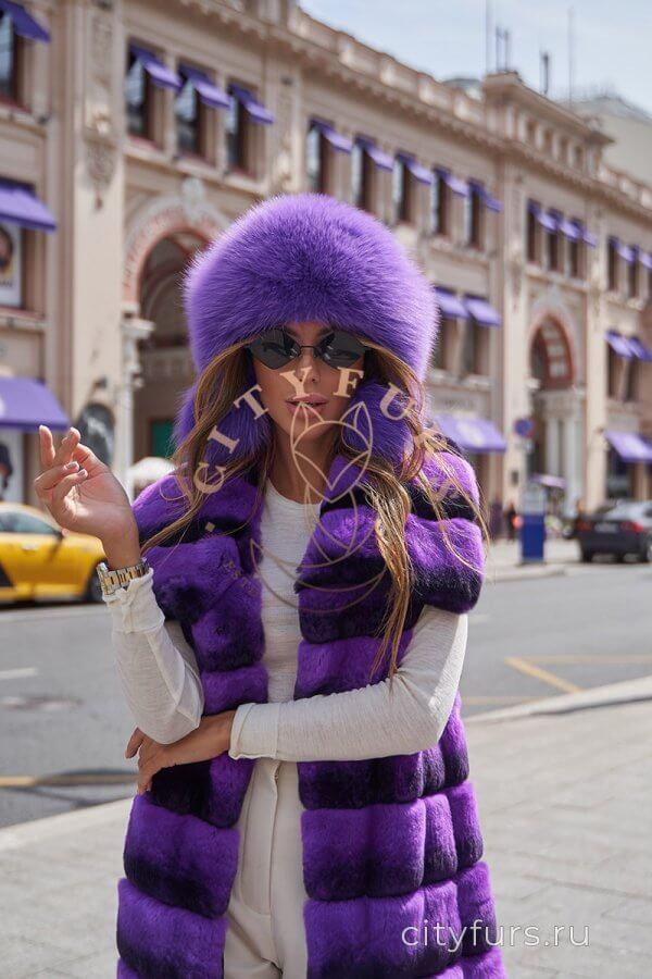 Жилет из меха орилаг - цвет фиолетовый