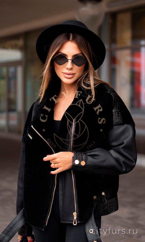 Дублёнка с кожаными вставками - цвет чёрный