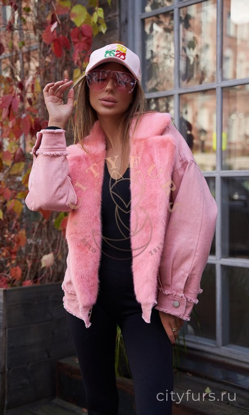 Джинсовка с мехом норки - цвет розовый