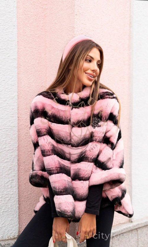 Кофта из меха кролика со стойкой - цвет розовый